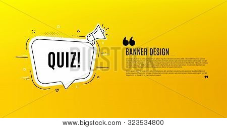 Quiz Symbol. Yellow Banner With Chat Bubble. Answer Question Sign. Examination Test. Coupon Design.
