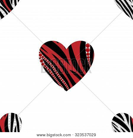 Seamless Designs Of Heart Shape With Animal Skin In Black, White, Red And Synthetic Gemstone, Zebra