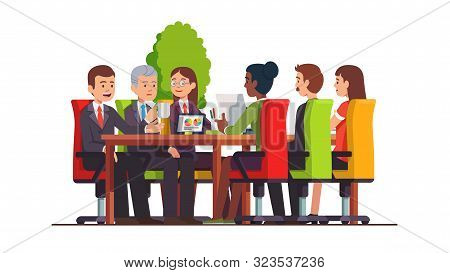 Businessman Group Meeting In Board Room At Desk