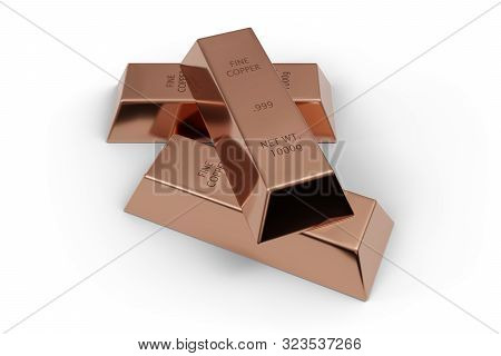 Three Shiny Copper Ingots Or Bars Over White Background - Essential Electronics Production Metal Or