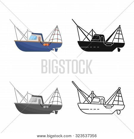Vector Illustration Of Steamboat And Ship Icon. Collection Of Steamboat And Tugboat Vector Icon For