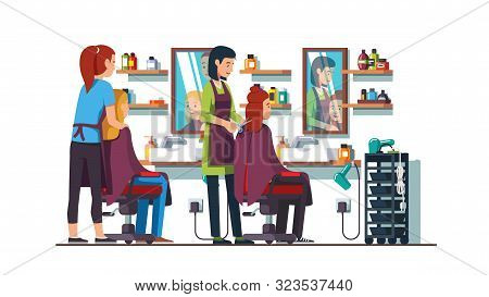 Women Hairdresser Making Haircut In Beauty Salon