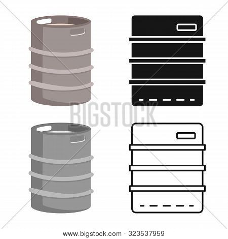 Vector Design Of Cask And Barrel Symbol. Set Of Cask And Sketch Vector Icon For Stock.