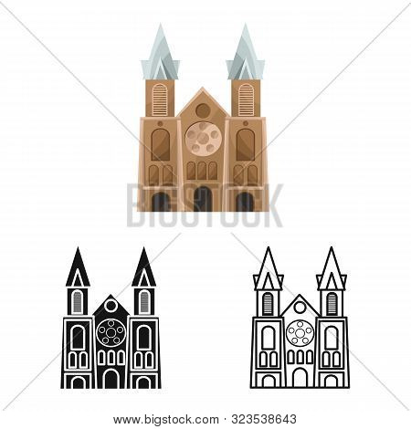 Isolated Object Of Chapel And Vietnamese Sign. Set Of Chapel And Cathedral Vector Icon For Stock.