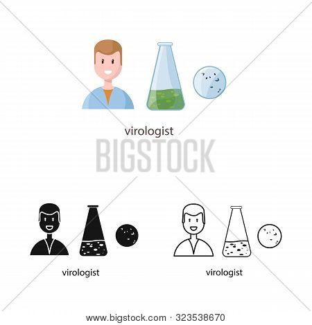 Isolated Object Of Virologist And Doctor Logo. Set Of Virologist And Safety Stock Vector Illustratio