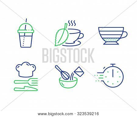 Cappuccino, Cooking Whisk And Mint Tea Line Icons Set. Coffee Cocktail, Food And Cooking Timer Signs
