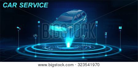 Car Auto Service In Futuristic Style Hud With Hologram Crossover And Icons. Low Poly 3d Car Projecti