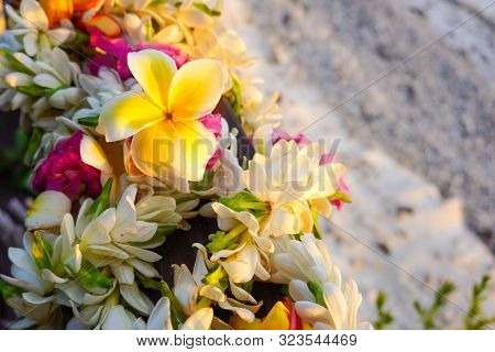 A Lei Of Colorful Tropical Flowers With A White Sandy Beach For Copy Space