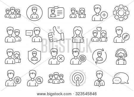 User People Line Icons. Male And Female Profile, Group And Support Icons. Id Card, Teamwork People A