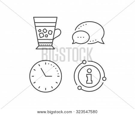 Frappe Coffee Icon. Chat Bubble, Info Sign Elements. Cold Drink Sign. Beverage Symbol. Linear Frappe