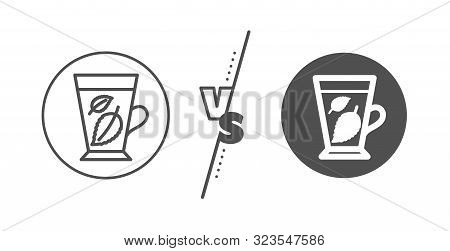 Fresh Herbal Beverage Sign. Versus Concept. Mint Tea Line Icon. Mentha Leaves Symbol. Line Vs Classi