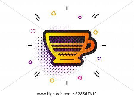 Hot Drink Sign. Halftone Circles Pattern. Mocha Coffee Icon. Beverage Symbol. Classic Flat Mocha Ico