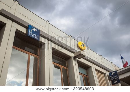 Bourgoin Jallieu, France - July 15, 2019:  La Banque Postale And La Poste Logo In Front Of A French