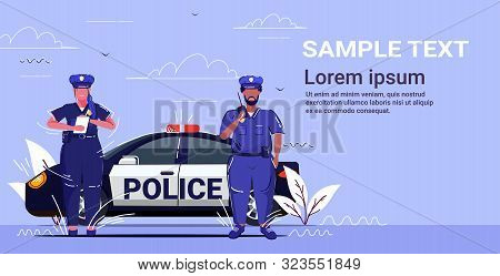 Policeman Using Walkie-talkie Policewoman Writing Fine Report Mix Race Police Officers Standing Near