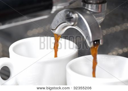 Espresso Extraction With Portafilter.