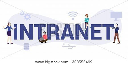 Intranet Internet Network Concept With Big Word Or Text And Team People With Modern Flat Style - Vec