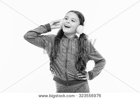 Vocal Music Lover. Athletic Kid Training Her Vocal After Workout. Small Child Doing Vocal On Song. L