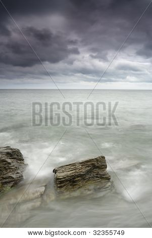 Pendower, Seascape With Dramatic Sky.