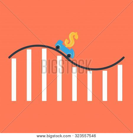 Interest Rate Reduction Or Dollar Depreciation Conceptual Financial Illustration, Rollercoaster Cart