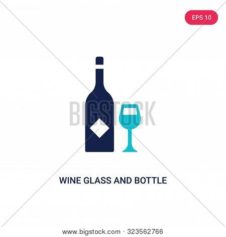 wine glass and bottle icon in two color design style.