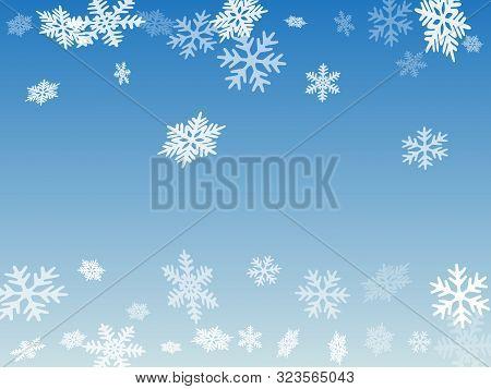 Winter Snowflakes Border Minimal Vector Background. Macro Snowflakes Flying Border Illustration, Hol
