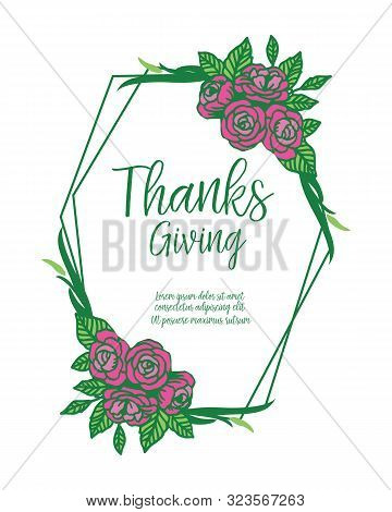 Decor For Invitation Card Thanksgiving, With Texture Beauty Of Purple Floral Frame. Vector