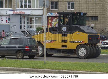 Kazakhstan, Ust-kamenogorsk, May 22, 2019: Steamroller. Equipment For Construction And Repair Roads.