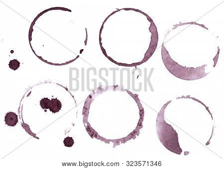 Set of wine glass marks isolated on white background