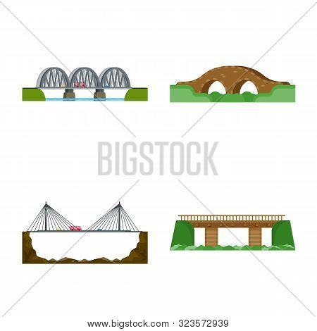 Vector Illustration Of Bridgework And Bridge Sign. Collection Of Bridgework And Landmark Stock Symbo