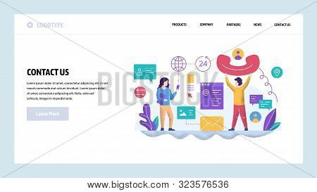Vector Web Site Design Template. Call Center And Helpline Support. Contact Us Page. Landing Page Con