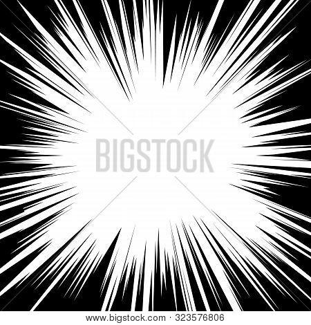 Comic Book Radial Speed Lines Template. Manga Speed Frame. Cartoon Explosion Background Superhero Ac