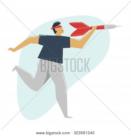 Wrong Goal Concept. A Blindfold Man Aiming A Dart At A Void. The Blind Man Chose The False Target.