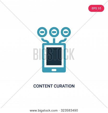 content curation icon in two color design style.