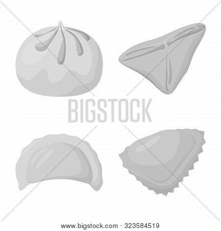 Vector Design Of Dumplings And Stuffed Symbol. Collection Of Dumplings And Dish Stock Vector Illustr