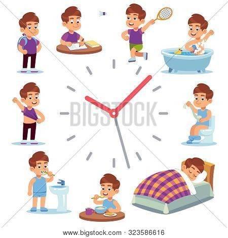 Daily Routine Clocks. Daily Routine Clocks. Schedule Of Happy Boy Life From Morning Breakfast At Hom