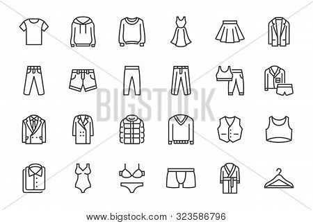 Clothes, Fashion Line Icons. Vector Illustration Included Icon As Jacket, Winter Coat, Sweatshirt, D
