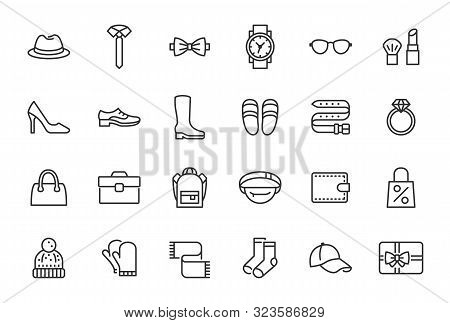 Accessory, Fashion Line Icons. Vector Illustration Included Icon As Footwear, High Heels Shoes, Bow
