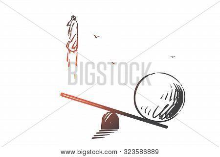 Career Boost, Determination Concept Sketch. Fast Job Promotion, Quick Rise, Ambitious Goals Achievem
