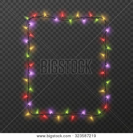 Frame With Light Garland. Christmas Square Border With Color Glowing Light Bulbs Isolated On Transpa