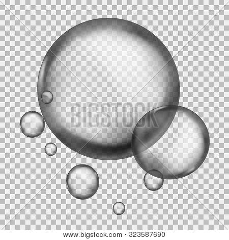 Water Liquid Sphere. Round Crystal 3d Macro Raindrop Or Clean Flowing Ball With Lights Liquid Vector