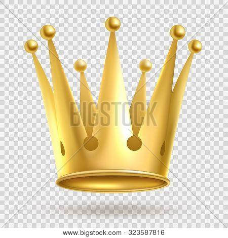 Golden Crown. Elegant Gold Metal Royal Crowning On Transparent Background Vector Realistic Wealth Im