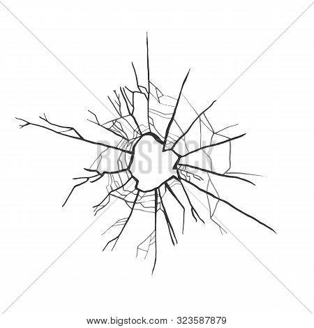 Broken Glass. Smash Vector Illustration. Bullet Hole.