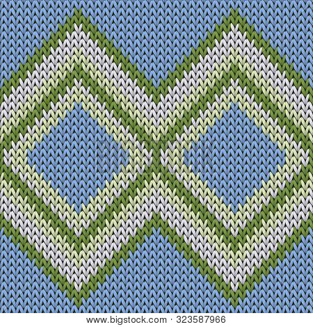 Natural Rhombus Argyle Knitted Texture Geometric Vector Seamless. Rug Knitwear Structure Imitation.