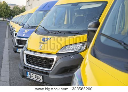 Olomouc Czech Rep 23th July 2019 Yellow Czech Post Office Vans Parked In A Line. Lined Up Peuegeot B