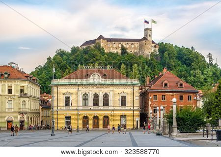 Ljubljana,slovenia - September 1,2019 - View At The Old Castle And Philharmony Building In Ljubljana