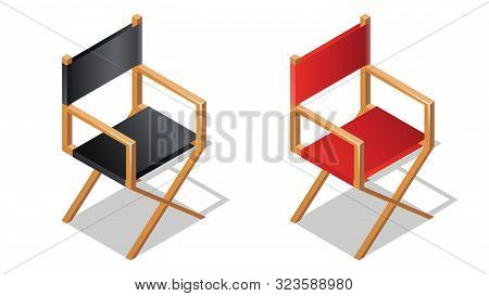 Movie Or Film Director Chair Isometric Icon With Shadow, Cartoon Vector Illustration. Foldable Black