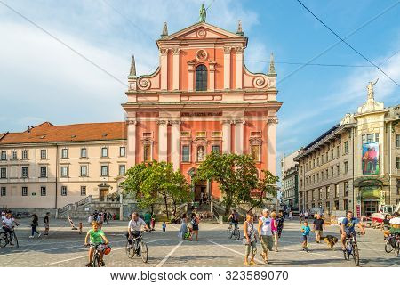 Ljubljana,slovenia - September 1,2019 - View At The Church Of Annunciation Saint Mary In The Streets