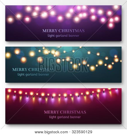 Light Garland Banners. Glowing Light Bulbs On Strings, Festive Christmas Party Decor. Abstract Xmas