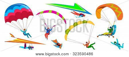 Skydivers. Skydiving Adventure, People Jump With Parachute In Sky, Fly With Paraglider And Free Flig