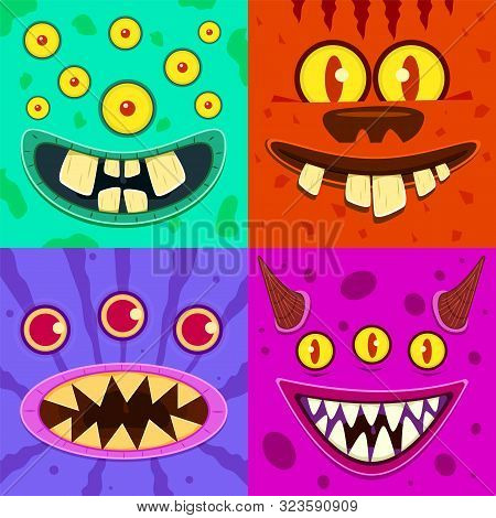 Monster Faces. Cute Horned Crazy Goblin And Slimy Gremlin, Scary Aliens. Halloween Funny Trolls, Zom